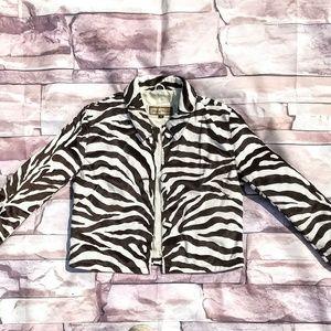 100% Genuine Leather Zebra Dress Coat